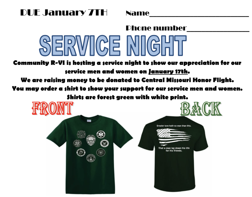 Service Night T-Shirt order form