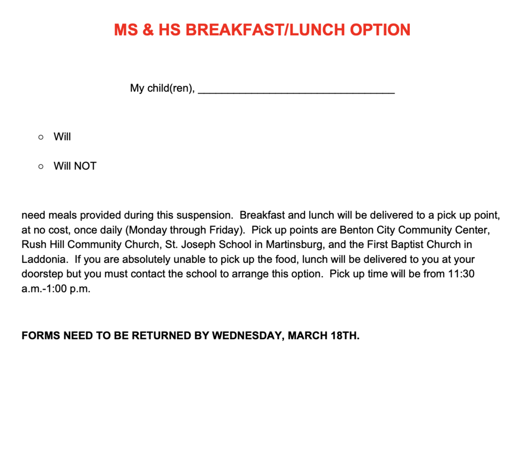 Meals for MS/HS